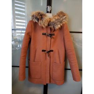 Zara tan hooded wool coat